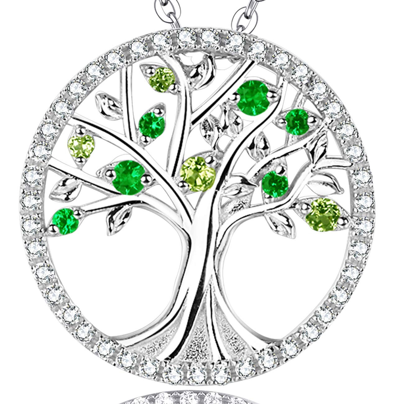 Birthday Gift her August Birthstone Necklace Green Peridot Emerald The Tree Life Love Pendant Jewelry Sterling Silver - 20'' Chain