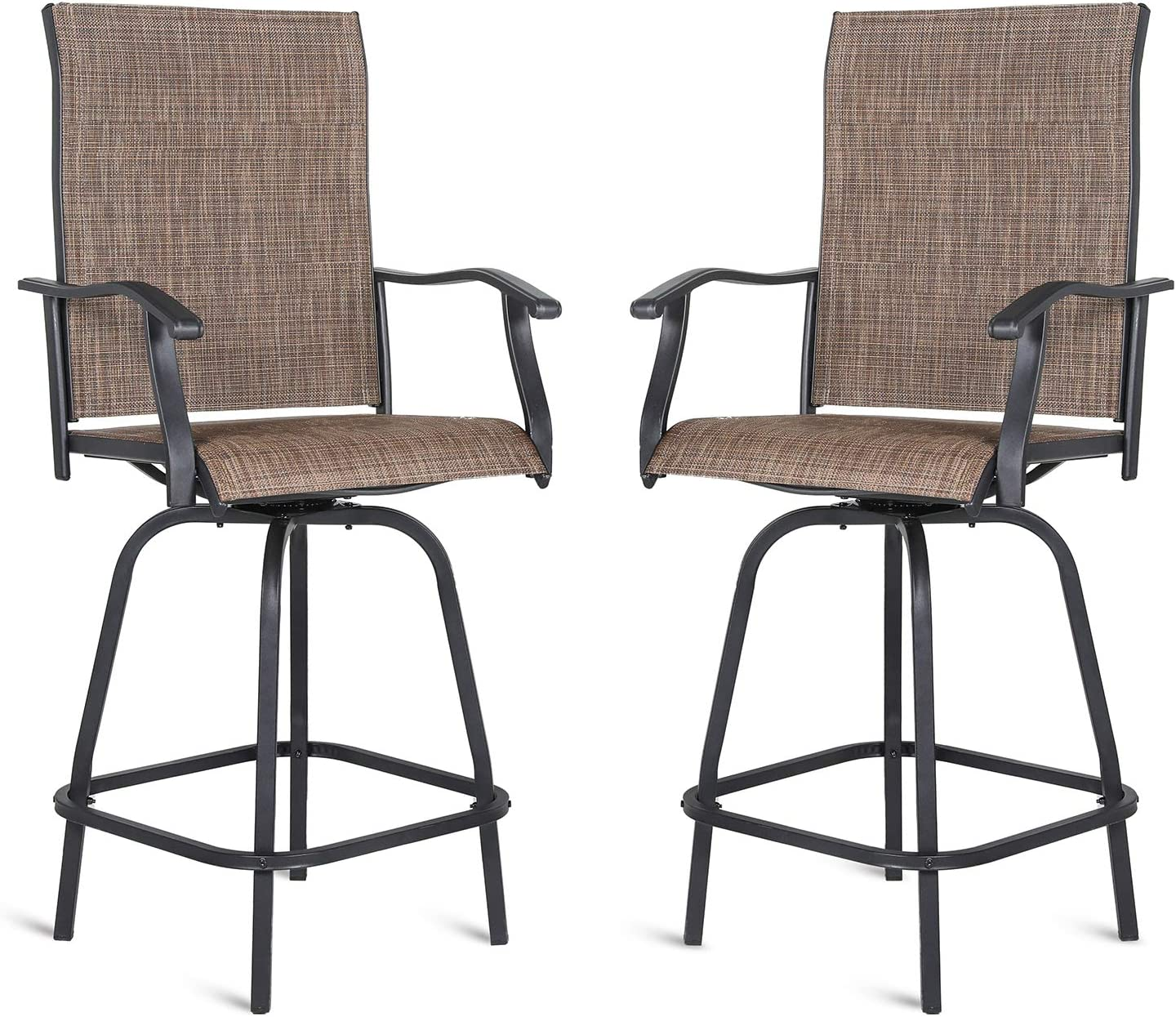 Patio Swivel Bar Stools for All-Weather, Outdoor Bar Height Chair with Armrest, 360 Degree Garden Furniture Set for Dining, Lawn, Backyard, Pool, Porch, 2 Pack