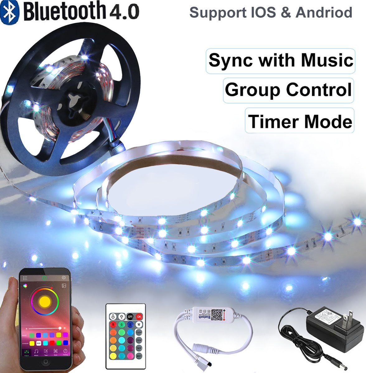 Visdoll Bluetooth LED Strip Lights Sync to Music, Timer & Dimmable Rope Light Smartphone Controlled, Support Group Controller, 16.4ft 5050 RGB Flexible LED Tape Light (150 LEDs Non-Waterproof)