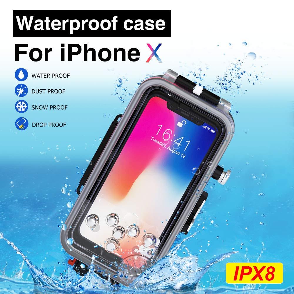 MEIKON 防水ケース iPhone X/XS用 水中ハウジング プロフェッショナル 60m/195フィート ダイビング サーフィン 水泳 シュノーケリング 写真 ビデオ フィルター付き   B07L1F438F