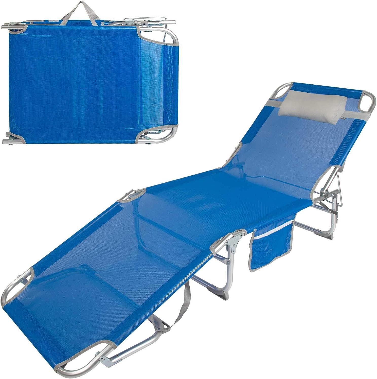 Aktive 62611 - Tumbona plegable aluminio con reposacabezas y bolsillo Beach