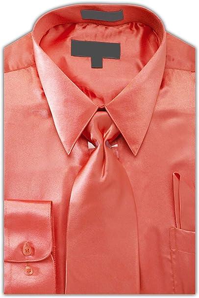 Men/'s Regular Fit Long Sleeve Solid Color One Pocket Casual Dress Shirt Coral