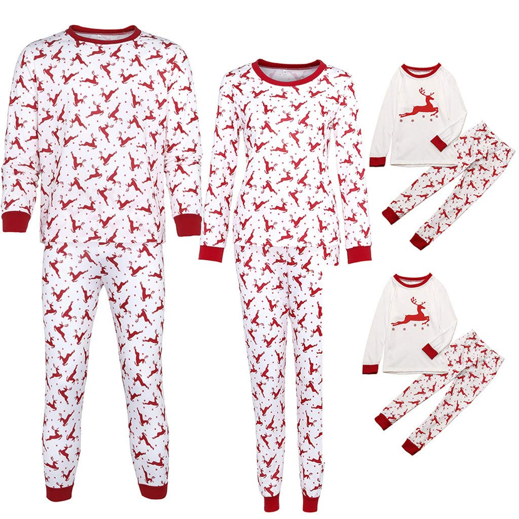 05a9931a5d Gufenban Christmas Family Matching Pajamas Set Parent-Child Christmas  Letter Print Tops Blouse Pants Family Pajamas Sleepwear Outfits Set (Men -  Red