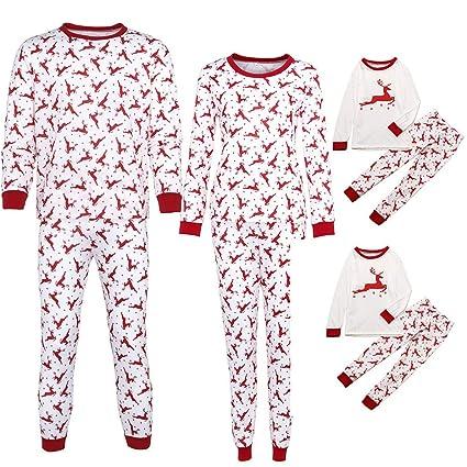 0d0b6e66da Gufenban Christmas Family Matching Pajamas Set Parent-Child Christmas  Letter Print Tops Blouse Pants Family
