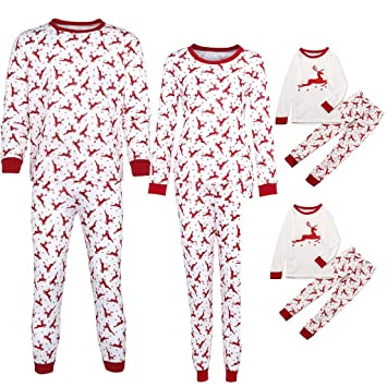1db0d48528 Gufenban Christmas Family Matching Pajamas Set Parent-Child Christmas  Letter Print Tops Blouse Pants Family