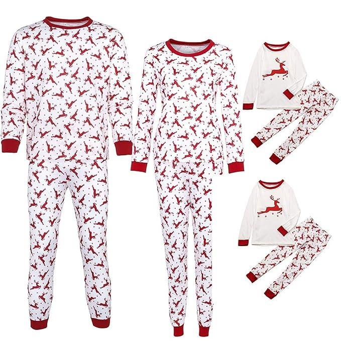 8d125cabb446 Mambain Pigiama Natale Famiglia, Pigiami Tute Due Pezzi Pantaloni +  Maglietta Renna Natale Stampe Bambino Donna Uomo Manica Lunga Natalizio Set  papà Mamma ...