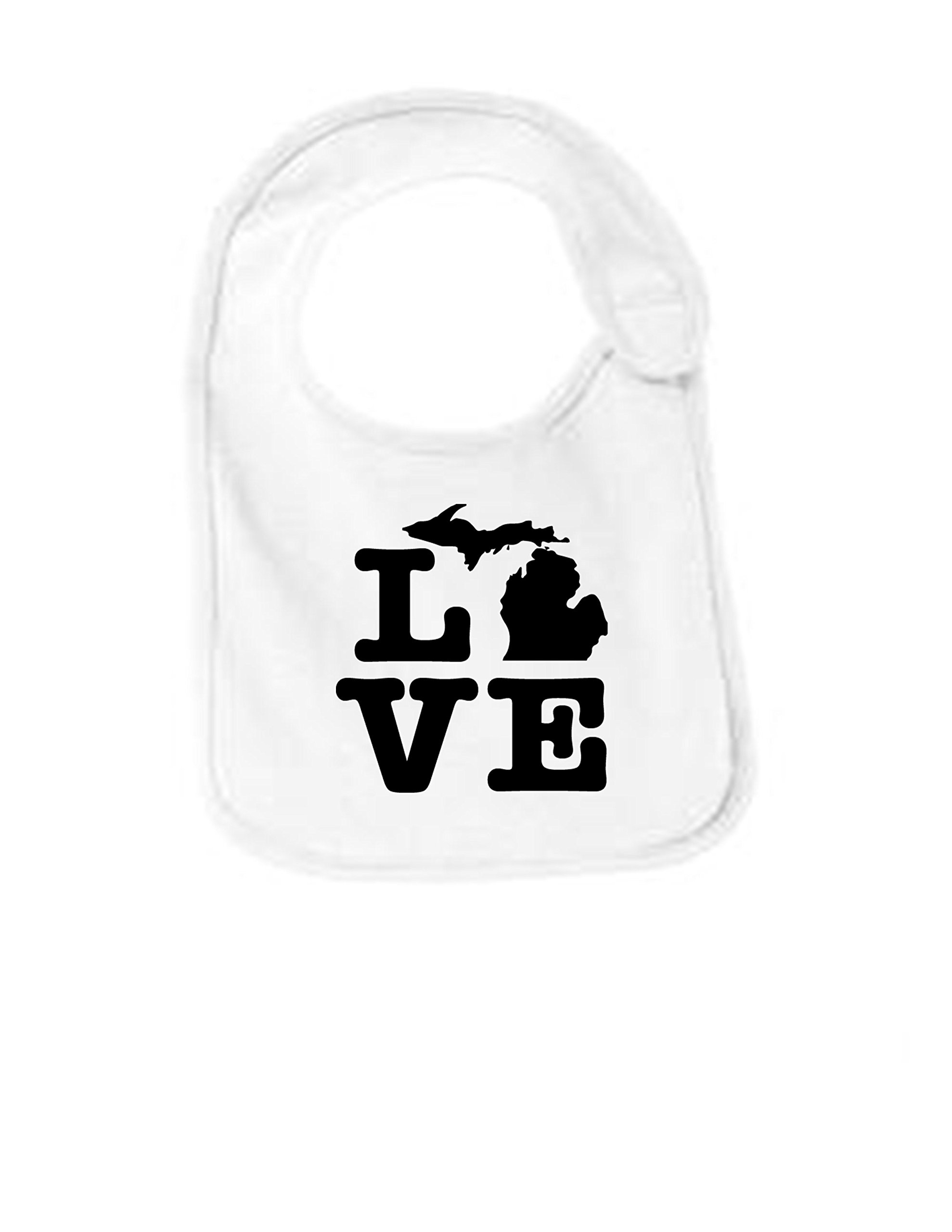 Michigan Love Funny Infant Jersey Bib White One Size by Sod Uniforms (Image #1)