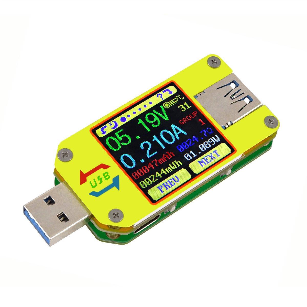 USB Tester del misuratore USB UM34C Voltmetro USB Corrente di tensione Multimetro amperometro Bluetooth Display LCD a colori da 1, 44 pollici Misuratore dell'impedenza di carico della resistenza del cavo di tipo USB 3.0 Innovateking-EU
