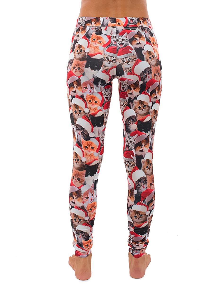 dd3078b8ec44 Women s Cat Christmas Leggings - Cute Kitten Ugly Christmas Sweater Party  Tights for Girls at Amazon Women s Clothing store
