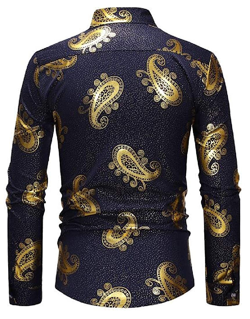 Domple Men Casual Shirts Button Up Loose Fit Long Sleeve Printed Dress Shirts