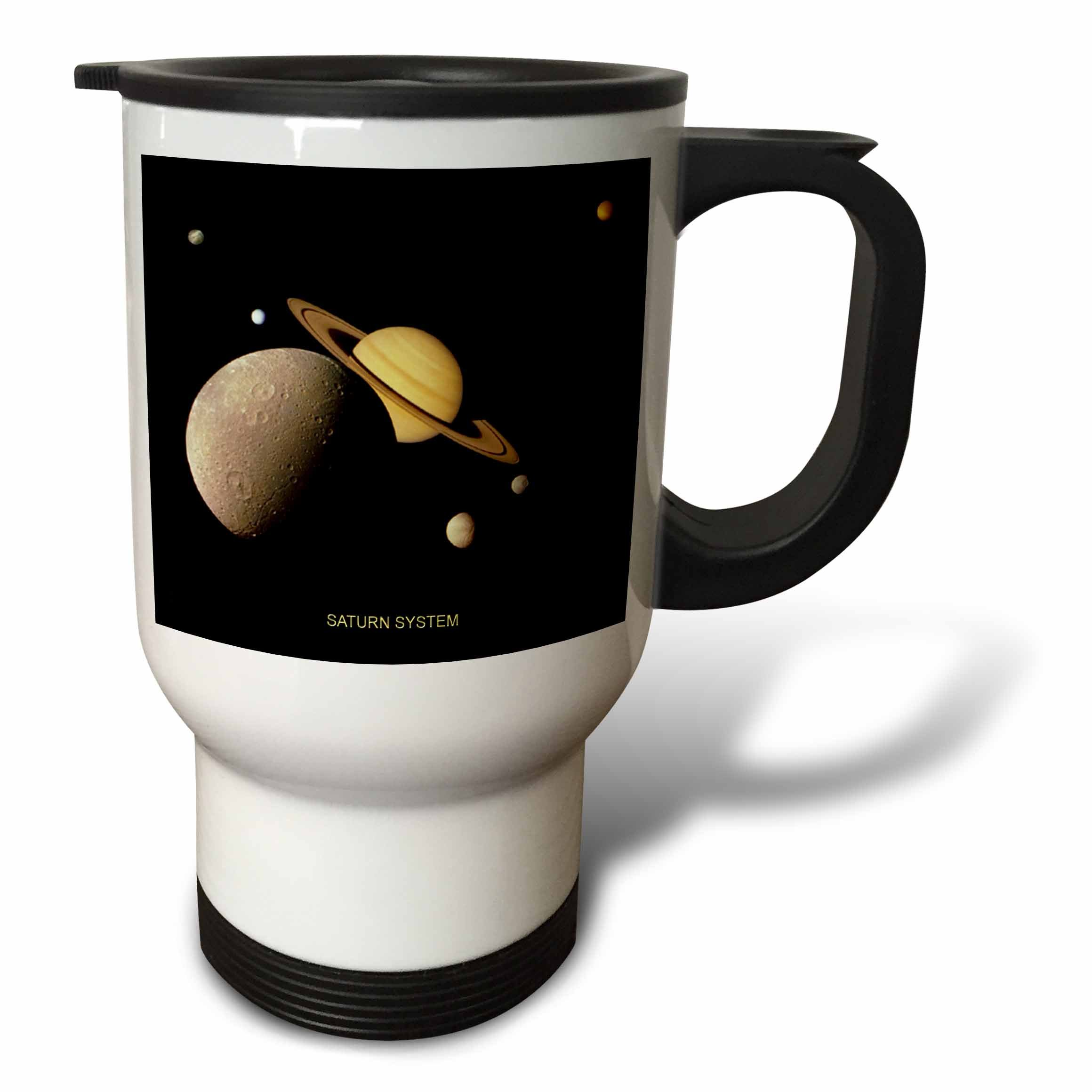 3dRose tm_76852_1 Solar System Montage of Saturn System Travel Mug, 14-Ounce, Stainless Steel