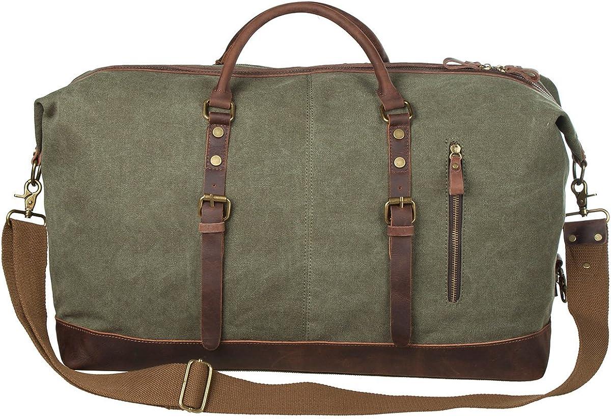 S-ZONE Oversized Canvas Genuine Leather Trim Travel Tote Duffel Shoulder Weekend Bag Weekender Overnight Carryon Handbag