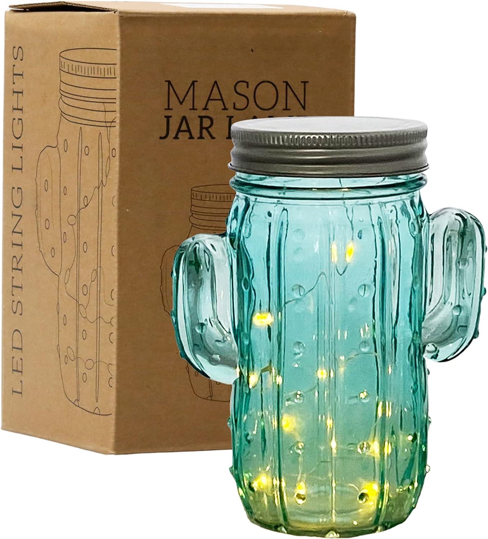 Tipsy Umbrella Cactus Shaped Mason Jar Light - Cactus Decor/Cactus Room Decor/Cactus Lamp (Single)