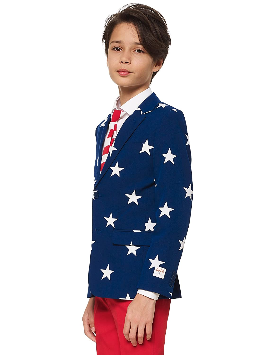 opposuits American Flag Suit For Boys & Teen Boys - Pants, Jacket and Tie