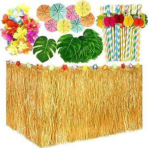 KUUQA 145 PCS Hawaiian Party Decoration Set, Artificial Tropical Leaves Flowers, Umbrella Picks and Hawaiian Grass Table Skirt for Jungle Aloha Luau Tropical Party Decorations