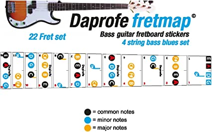 daprofe diapasón Nota Mapa diestros Blues Bass guitarra 22 Nota ...