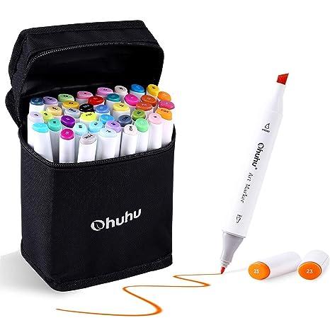 Rotulador permanente de graffiti de Ohuhu®, 40 colores con doble punta, para dibujar bocetos de arte, pintar, colorear y subrayar
