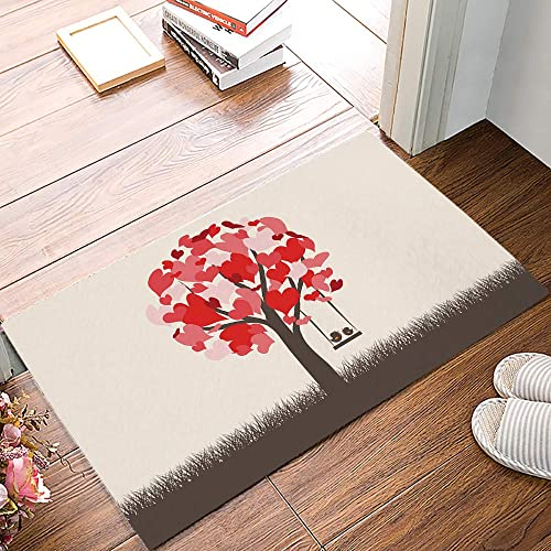 Entrance Way Door Mats Bath Mats Welcome Rugs Valentine s Day Love Tree with Birds on Swing Printed Indoor Mat Rubber Backing Floor Mat for Kitchen Bedroom Office 20×31.5inch