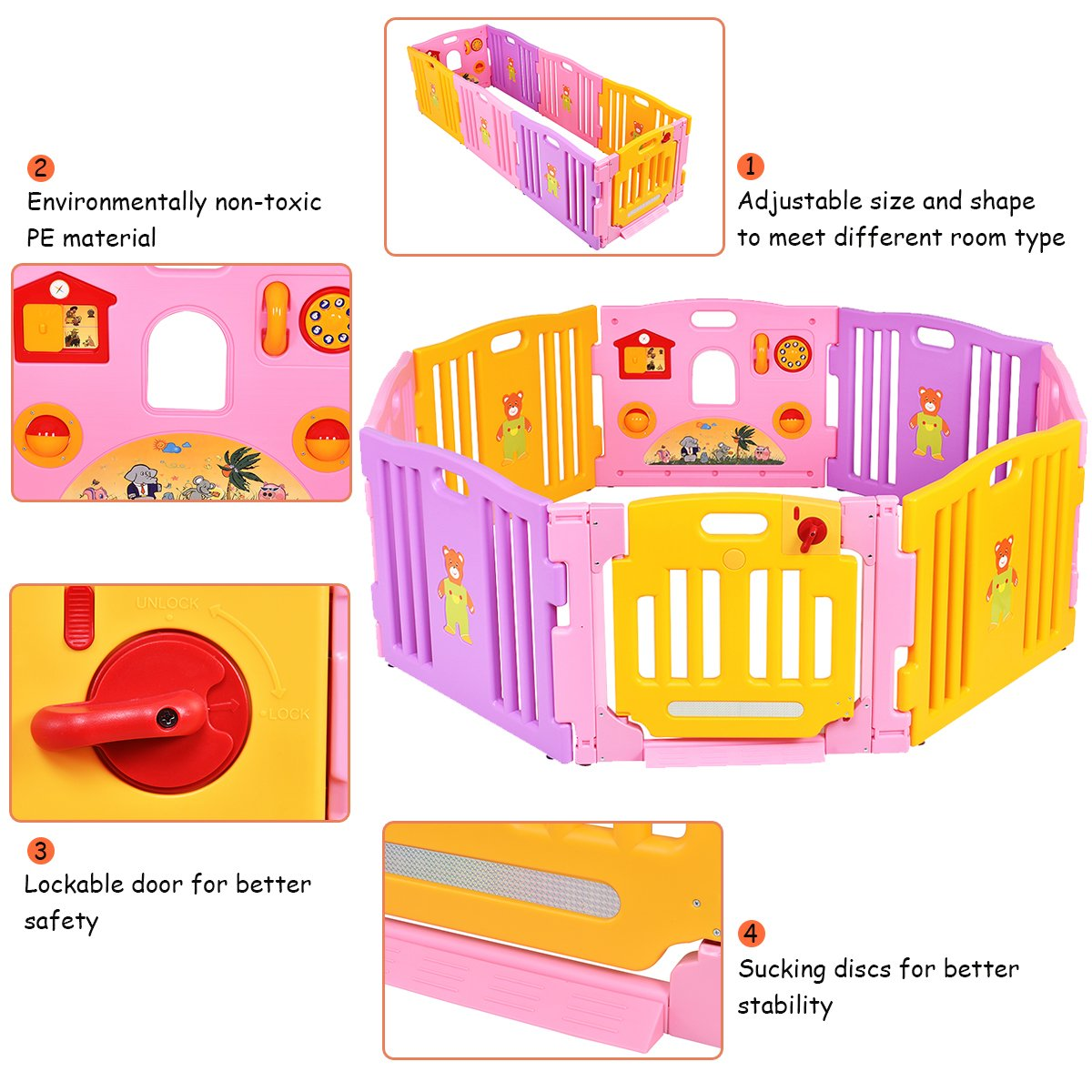 COSTWAY Baby Playpen with 8 Colorful Panels Pink Changeable into Octagon Rectangle Upgraded Safety Lock Triangle as Infant /& Toddlers Activity Center Square