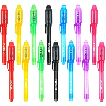 14 Stück Geheimstift mit UV-Licht UV Geheimstifte Geheime Nachrichten UV Stift