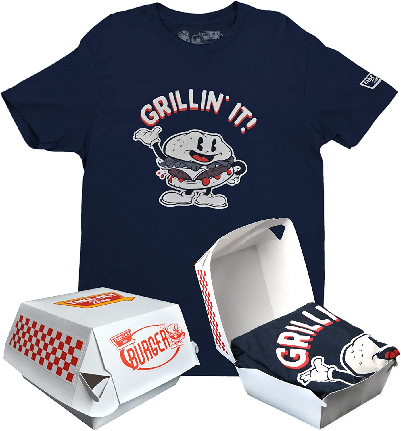 Fun Gifts Novelty T-Shirts for Men, Food Humor T-Shirts in Takeout Boxes, Father's Day Grandpa Gifts