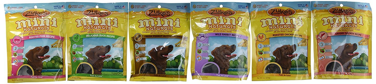 Zuke s Mini Naturals Healthy Moist Dog Treats Variety Pack – 6 Flavors Roasted Pork, Wild Rabbit, Roasted Chicken, Delicious Duck, Savory Salmon, Fresh Peanut Butter – 6 oz Each