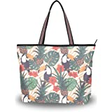 ALAZA Tropical Exotic Flowers Pineapple Toucan Tote Top Handle Shoulder Bags Women Handbag