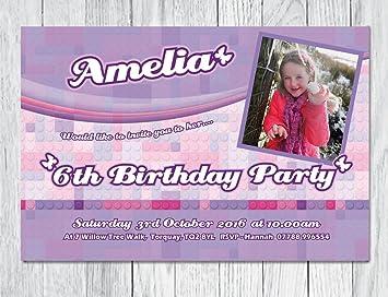 10 X Personalisiertes Kinder Party Einladungskarten Mit Umschlägen. Lego  Friends Thema