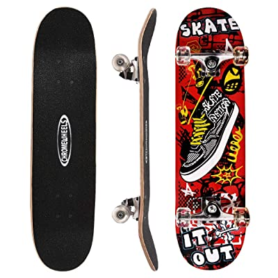 ChromeWheels 31 inch Skateboard Complete Longboard Double Kick Skate Board Cruiser 8 Layer Maple Deck for Extreme Sports and Outdoors : Sports & Outdoors