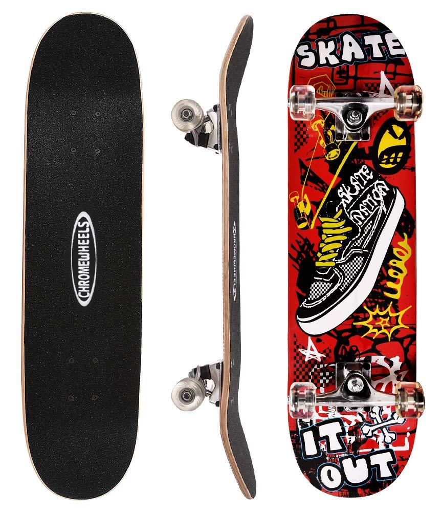 ChromeWheels 31 inch Skateboard Complete Longboard Double Kick Skate Board Cruiser 8 Layer Maple Deck