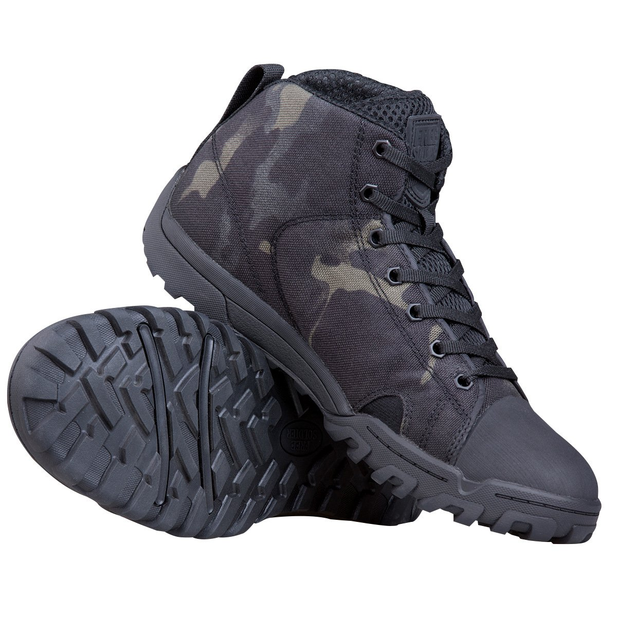 FREE SOLDIER Men's Tactical Boots Ankle Boots Lightweight Breathable Military Boots Strong Grip Camo Combat Boots for Work (Multicamo-Black, 10) by FREE SOLDIER