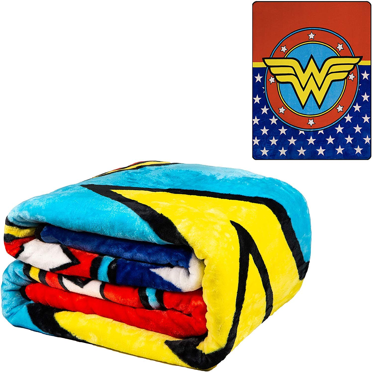 JPI DC Comics Wonder Woman Flannel Queen Plush Blanket - Wonder Woman Shield - Officially Licensed - Super Soft & Thick