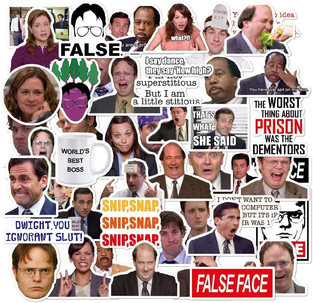 The Office Stickers, The Office Merchandise, Memorabilia for TV Show, Dunder Mifflin Vinyl Sticker for Bumper Laptops Hydro Flask Water Bottles Phone Case - Funny Quote for Micheal Dwight - 50 Pack