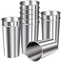 Ruisita 10 Pieces 20 Ounce Stainless Steel Cups Metal Pint Cups Shatterproof Drinking Glasses for Kids or Adults