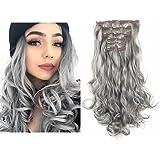 "SARLA 20"" 7Pcs Full Head Wavy Clip In Gray Hair Extensions Synthetic Heat-Friendly Fiber Hairpiece 999#171"