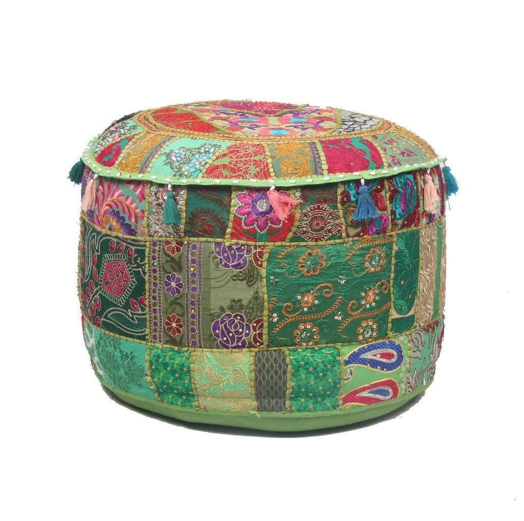 GANESHAM Indian Home Decor Hippie Patchwork Bean Bag Boho Bohemian Hand Embroidered Ethnic Handmade Pouf Ottoman Vintage Cotton Floor Pillow & Cushion (22'' H x 14)'' Diam.