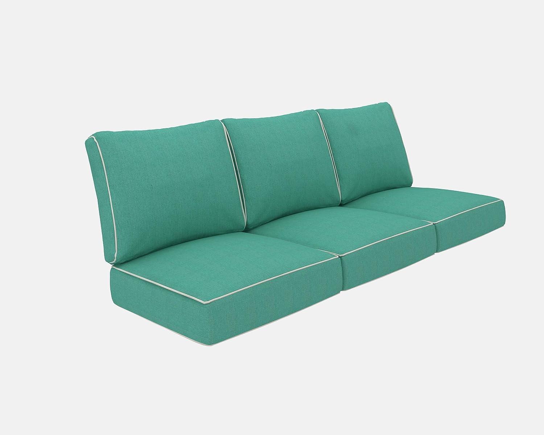 Living Express Patio Furniture Cushion, Outdoor Sofa Cushion, Deep Seating Seat/Back Cushion Set, Replacement Cushions Set, Teal Blue