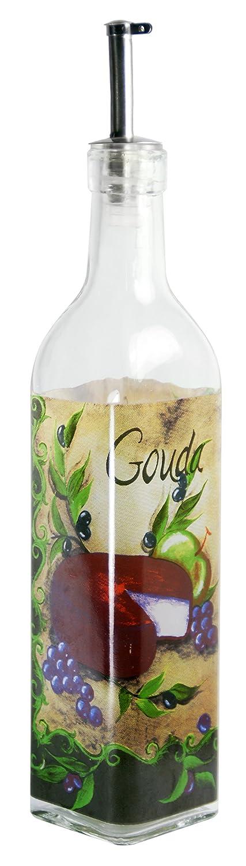 Multicolored 16 oz Grant Howard Grapes and Cheese Theme Oil /& Vinegar Glass Cruet