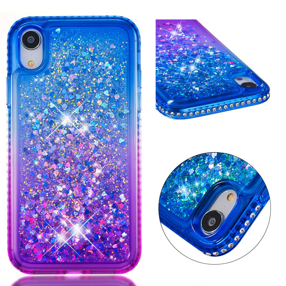 iPhone XR Case, Tznzxm Fashion Glitter Floating Flowing Flexible TPU Gradient Quicksand Series Anti-Scratch Shockproof Bling Diamond Sparkly Defender Protective Case for Apple iPhone XR Blue & Purple