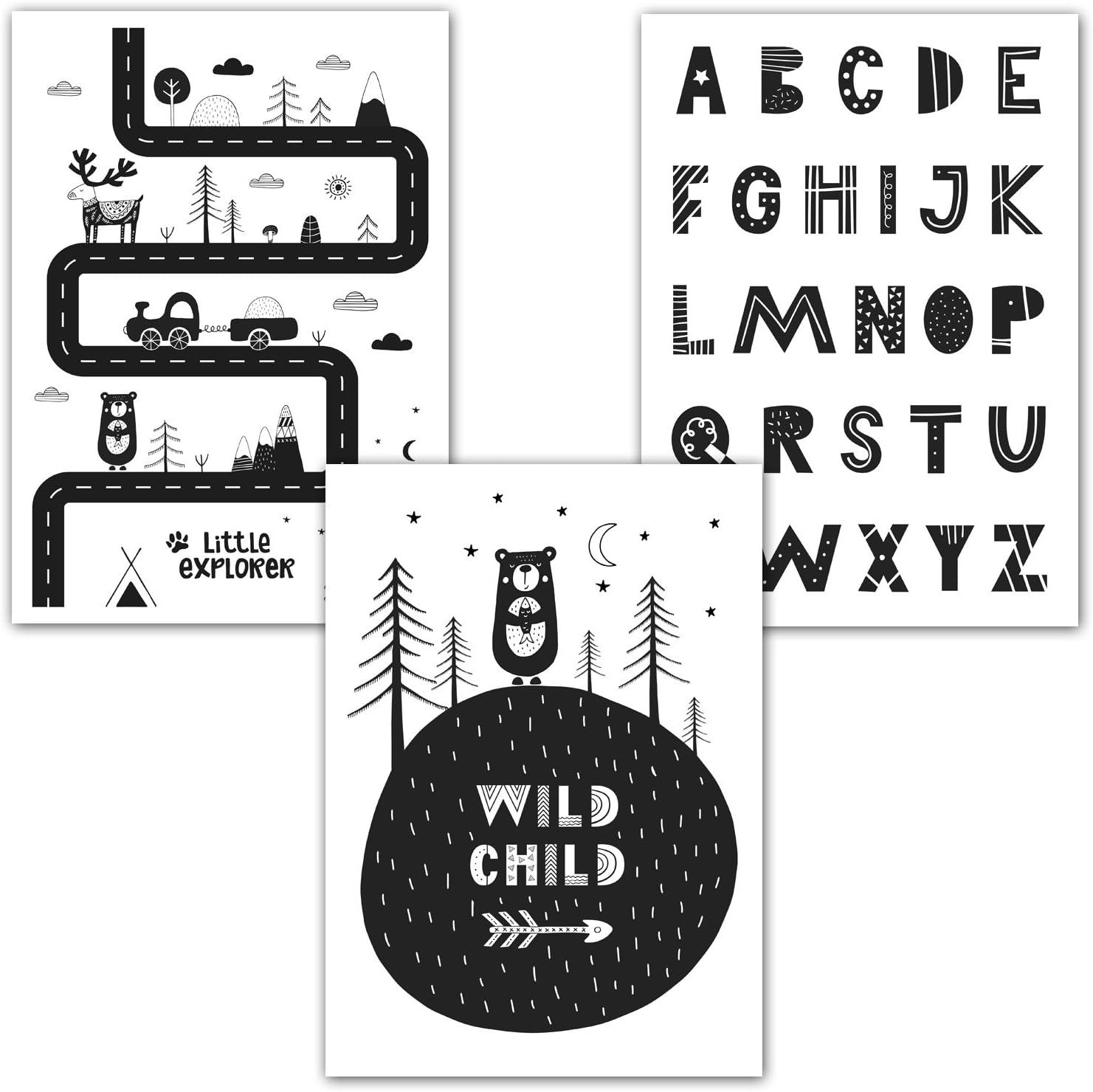 frechdax Art Print in Scandinavian Style Nursery Poster 21 x 29.7cm Set-02