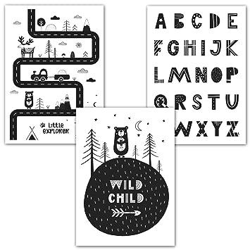 Amazon De Frechdax 3er Set Kinderzimmer Babyzimmer Poster Din A4