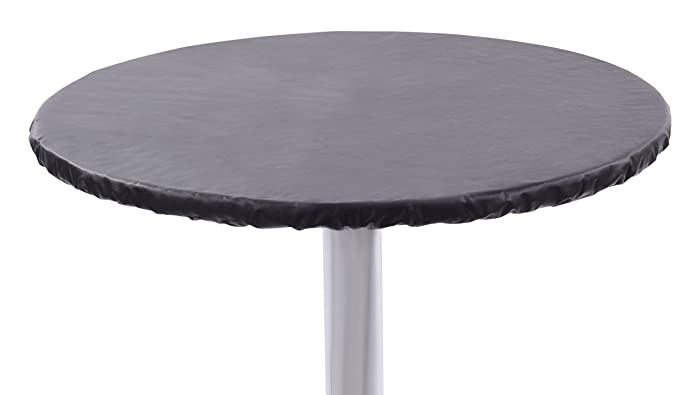 """Yourtablecloth Heavy Duty Vinyl Round Fitted Tablecloth (Table Cover) with Flannel Backing Vibrant Colors Elasticized Tablecloth Great for Indoor and Outdoor Dining and Playing Cards 60"""" Black"""