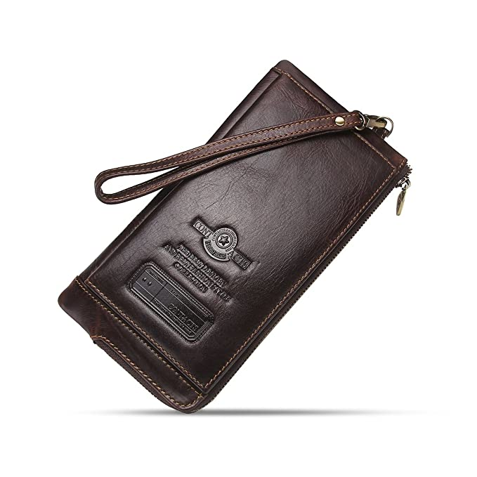 7bb004e108dc Contacts Mens RFD Genuine Leather Credit Card Zipper Pocket Phone Holder  Clutch Purse Long Wallet Dark