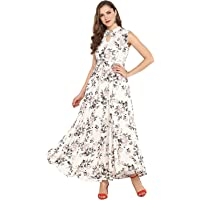 Janasya Women's Rayon Floral Print Flared Gown