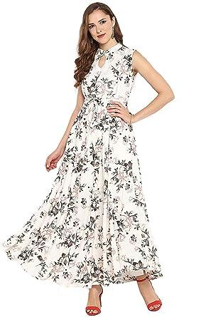 c21628155dd Janasya Women's Rayon Floral Print Flared Gown