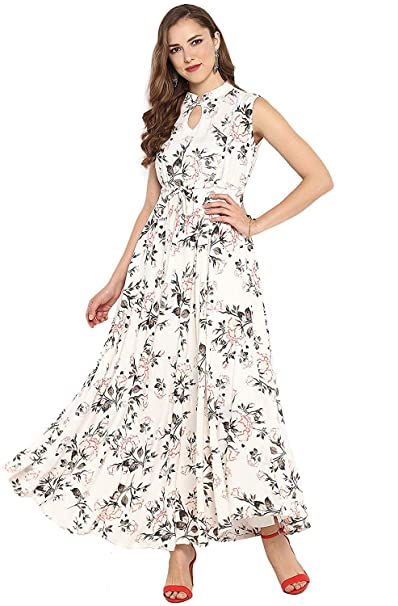 Buy Janasya Women S Rayon Floral Print Flared Gown At Amazon In