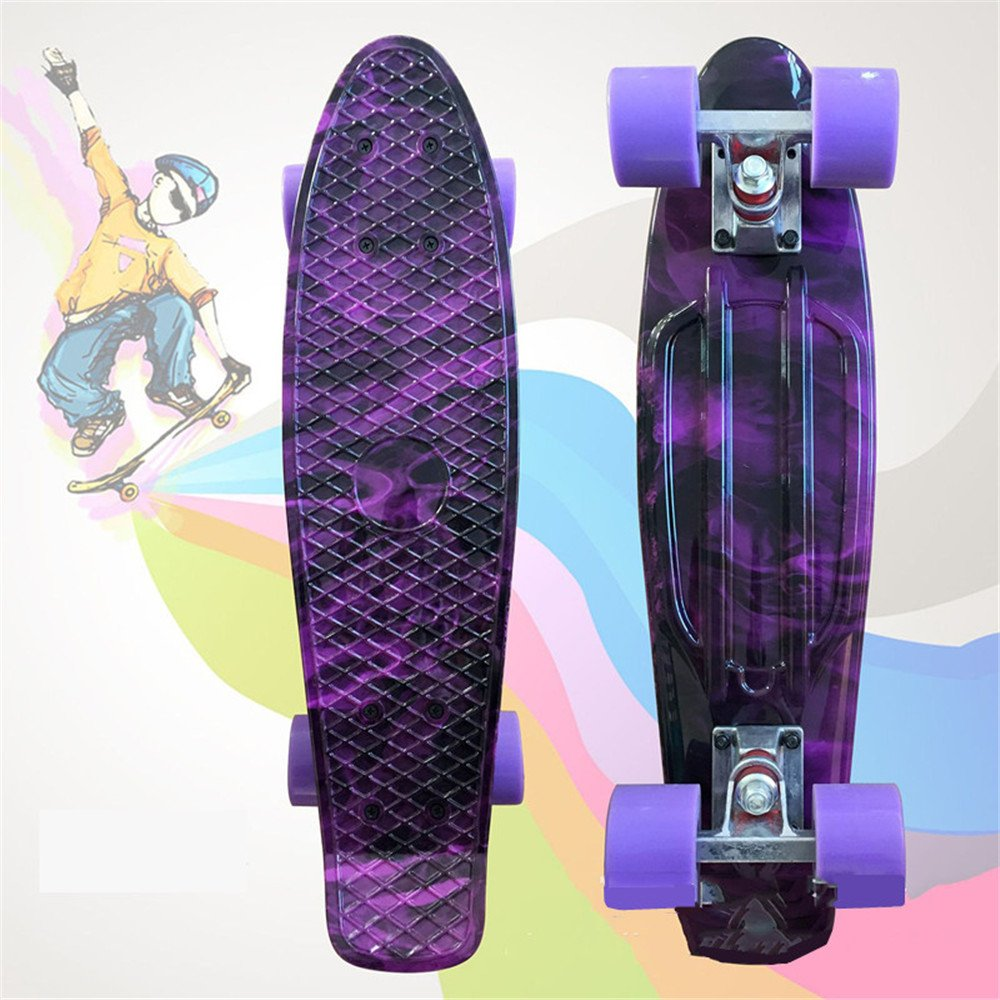 ブランド品専門の 22インチ完全スケートボードプリントボードプロフェッショナル4ホイールスケートボード、子供、青少年、初心者用 (Color : : B07H7X438P Purple Red) B07H7X438P Purple Purple, 雑貨 クローバー:10499091 --- a0267596.xsph.ru