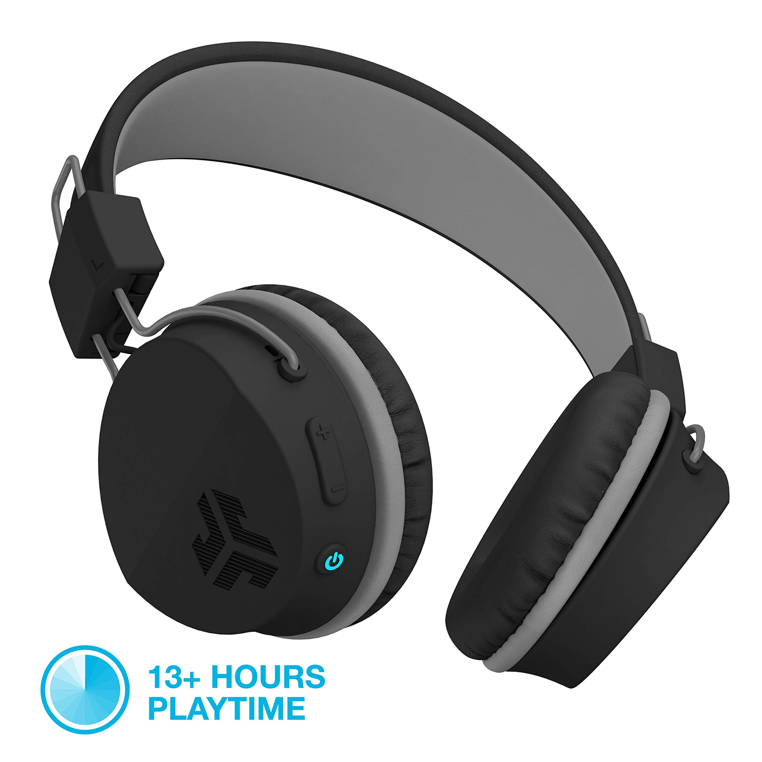 JLab Audio Neon Bluetooth Folding On Ear Headphones - Black - 13 Hour Bluetooth Playtime 40mm Neodymium Drivers C3 Sound (Crystal Clear Clarity)