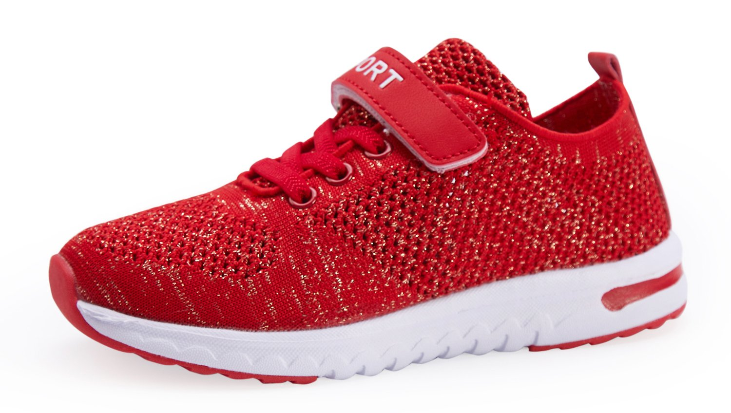 Casbeam Breathable Ventilation Girls Sneakers with Flyknit Upper Vamp Lightweight Shoes Red 36