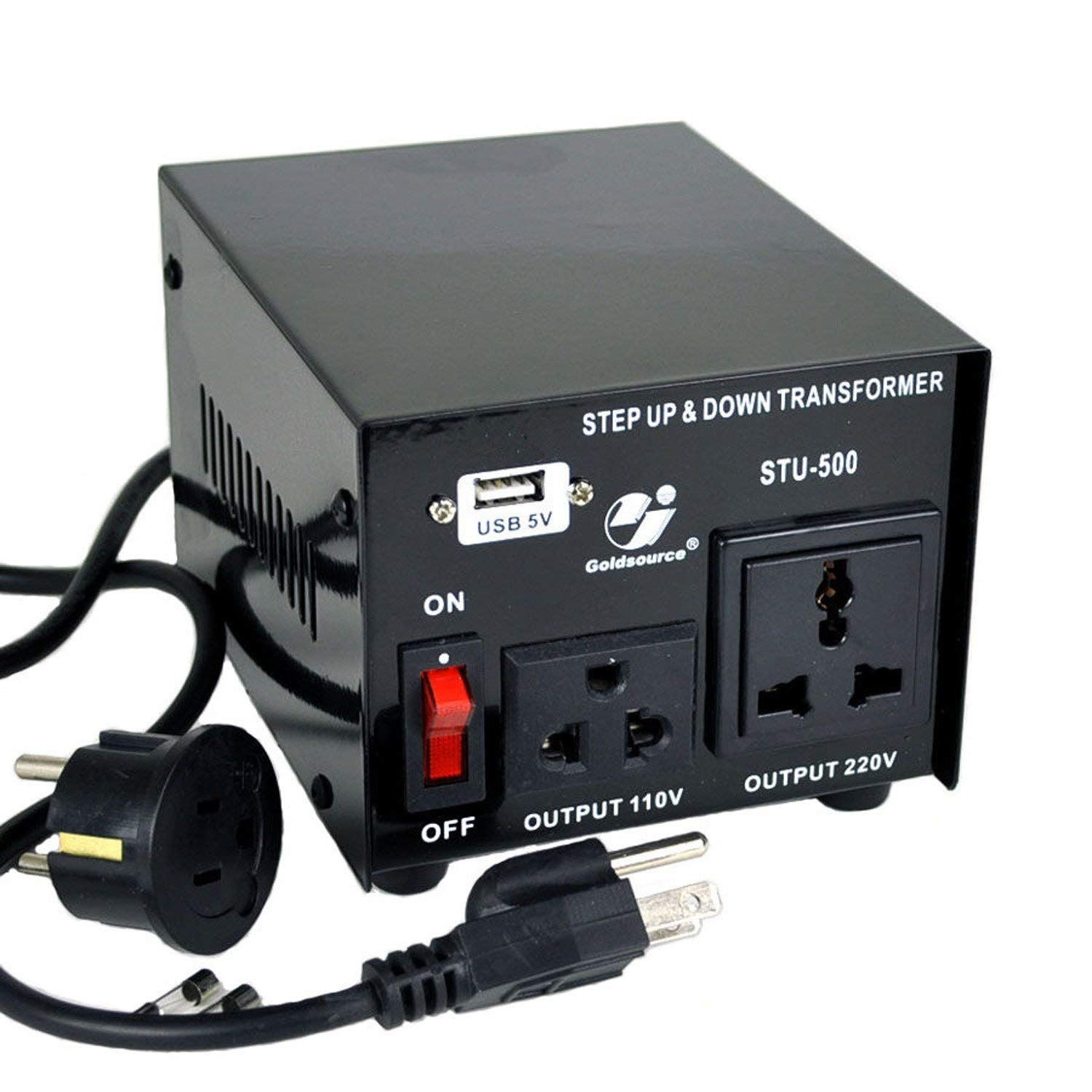 Goldsource STU-500W Voltage Transformer Converter: AC 110V/220V Step-Up/Down Power Converter with 5V USB Output, 500 Watt